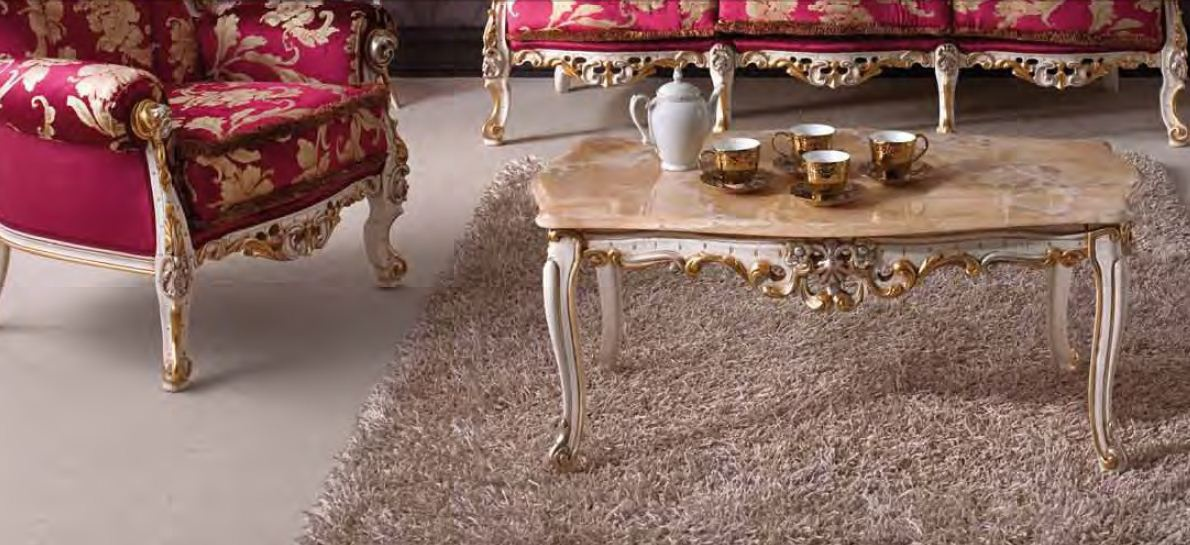 Coffee Table With Marble Stoleshnicy On Baroque Carved Legs Arve