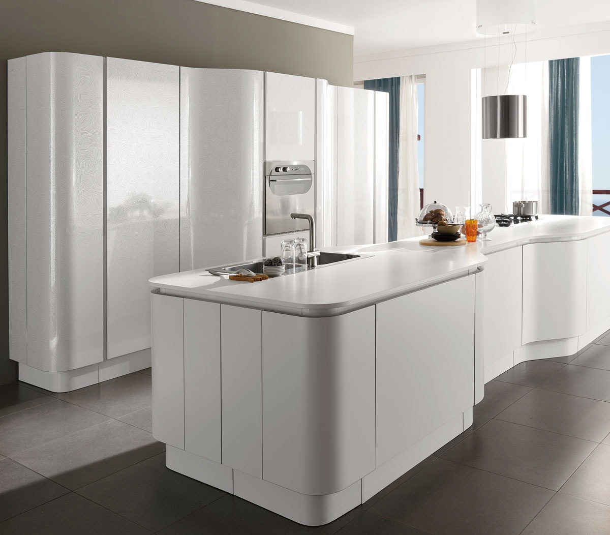 Kitchen (kitchen set) white wooden frame Miro Colours, Aran Cucine ...