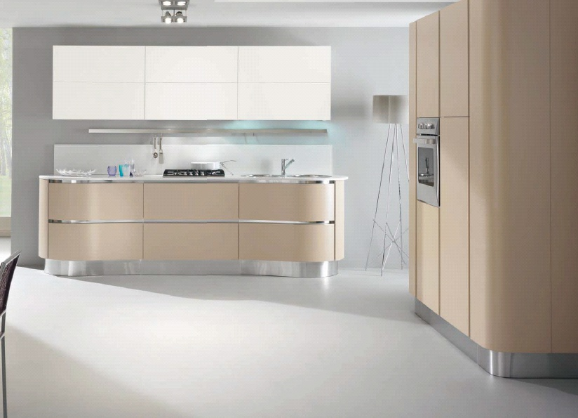Kitchen Set With Rounded Edges Of The Lower Cabinets Of Madrid Spar Luxury Furniture Mr