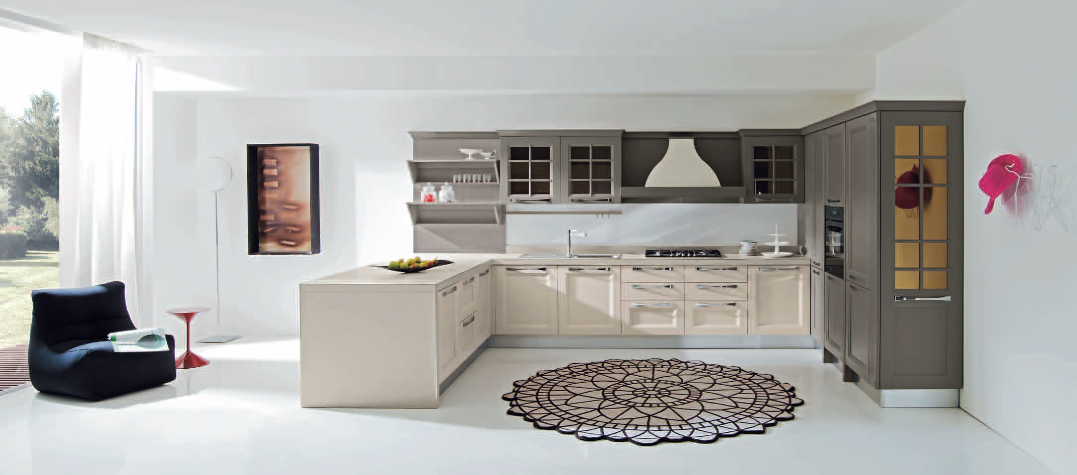 Kitchen (Suite kitchen) natural wood with built-in extractor Ylenia ...