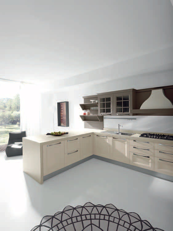 Kitchen (Suite kitchen) natural wood finish lacquered anthracite ...