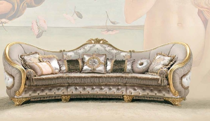 Semi circular sofa in fabric venere sat export luxury for Semi classic sofa