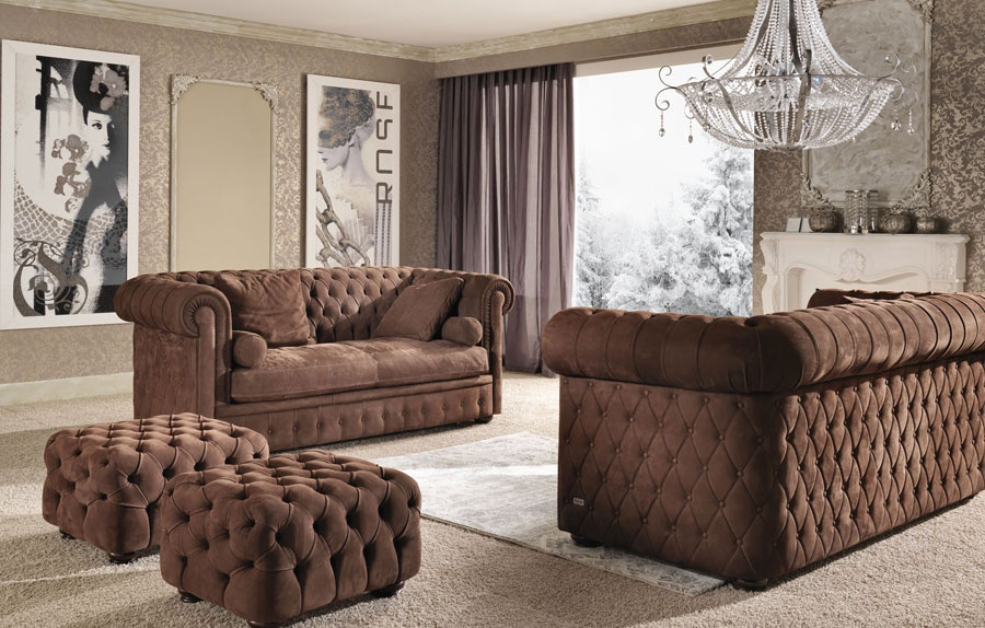Sofa Set In Leather Upholstery Deluxe
