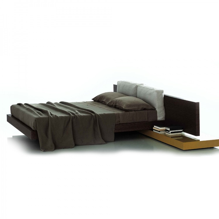 Double bed with a large headboard made of solid oak, Modulor - Porro