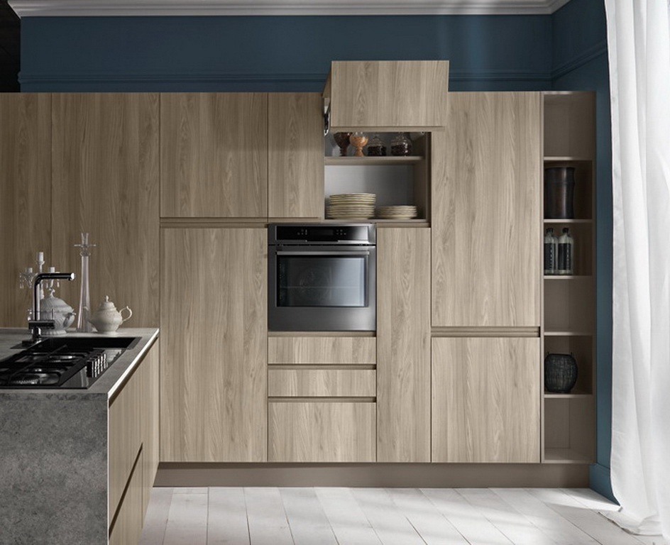 Kitchen kitchen set with the case of natural tree line for Kitchen set natural