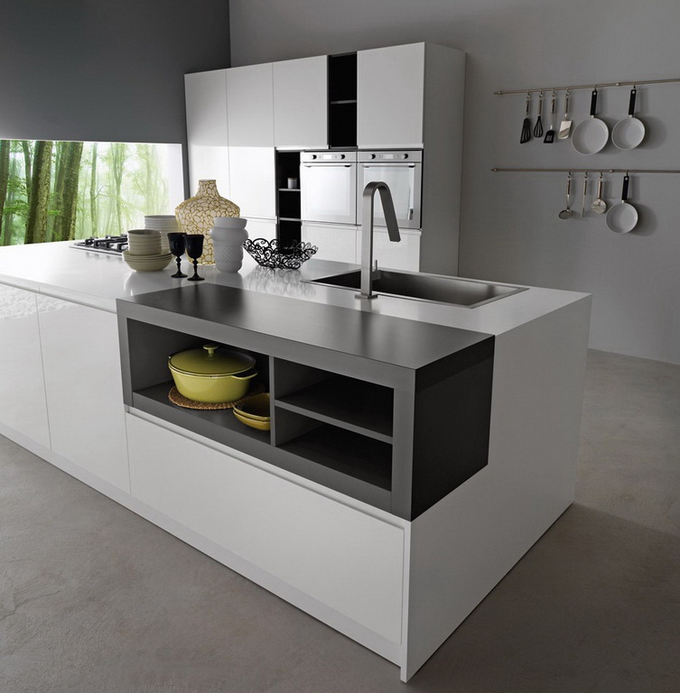 Kitchen kitchen set with the case of natural tree line for Kitchen set q line