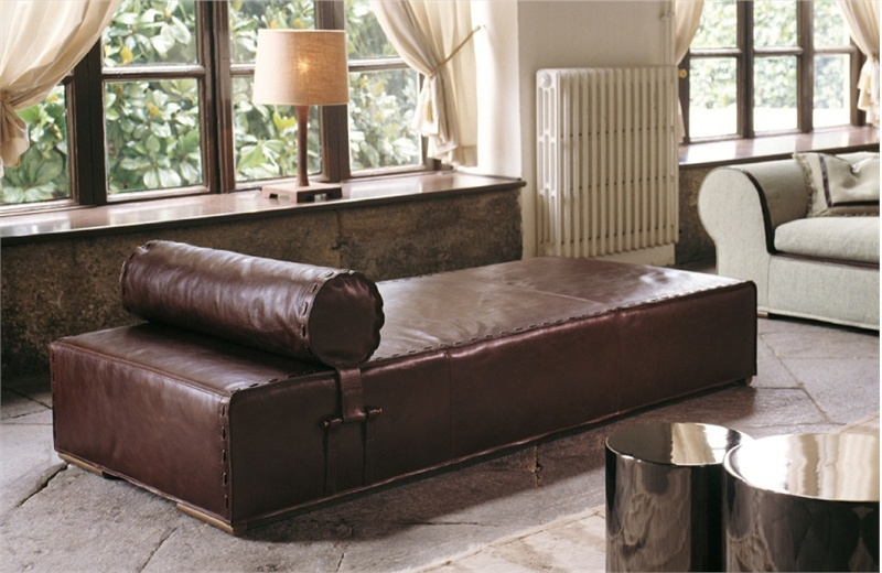 Daybed Made Of Solid Wood Upholstered With Leather Or