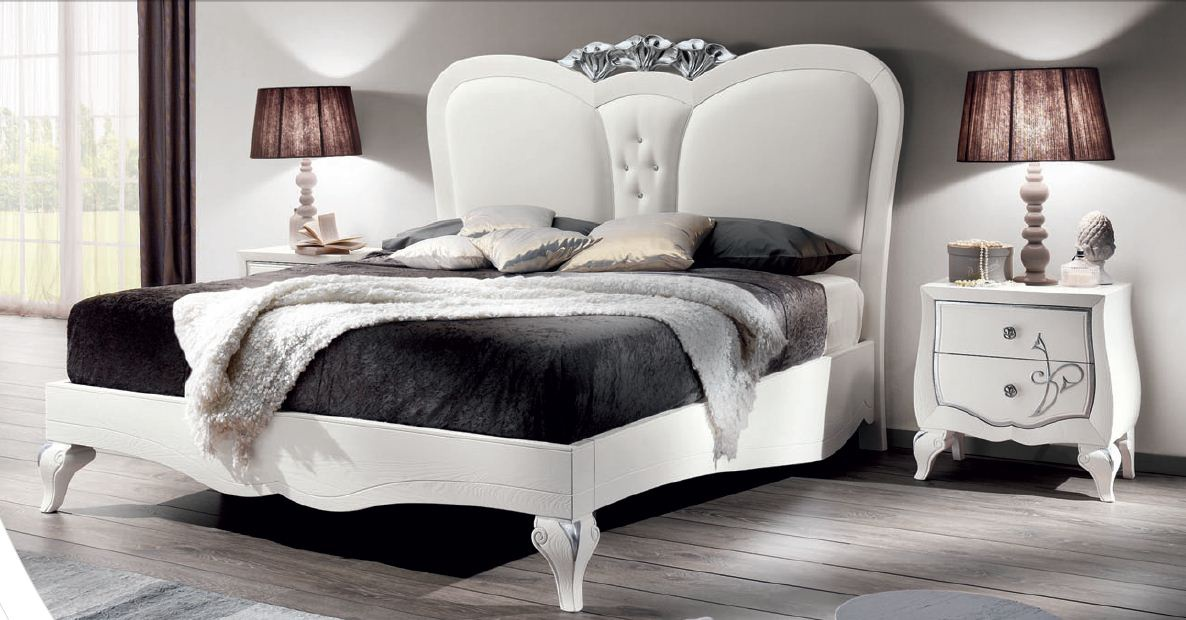Bed In White Matt Lacquer And Eco Leather With Swarovski