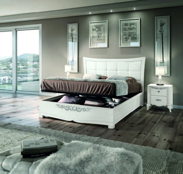 Bed With High Upholstered Headboard In Eco Leather With