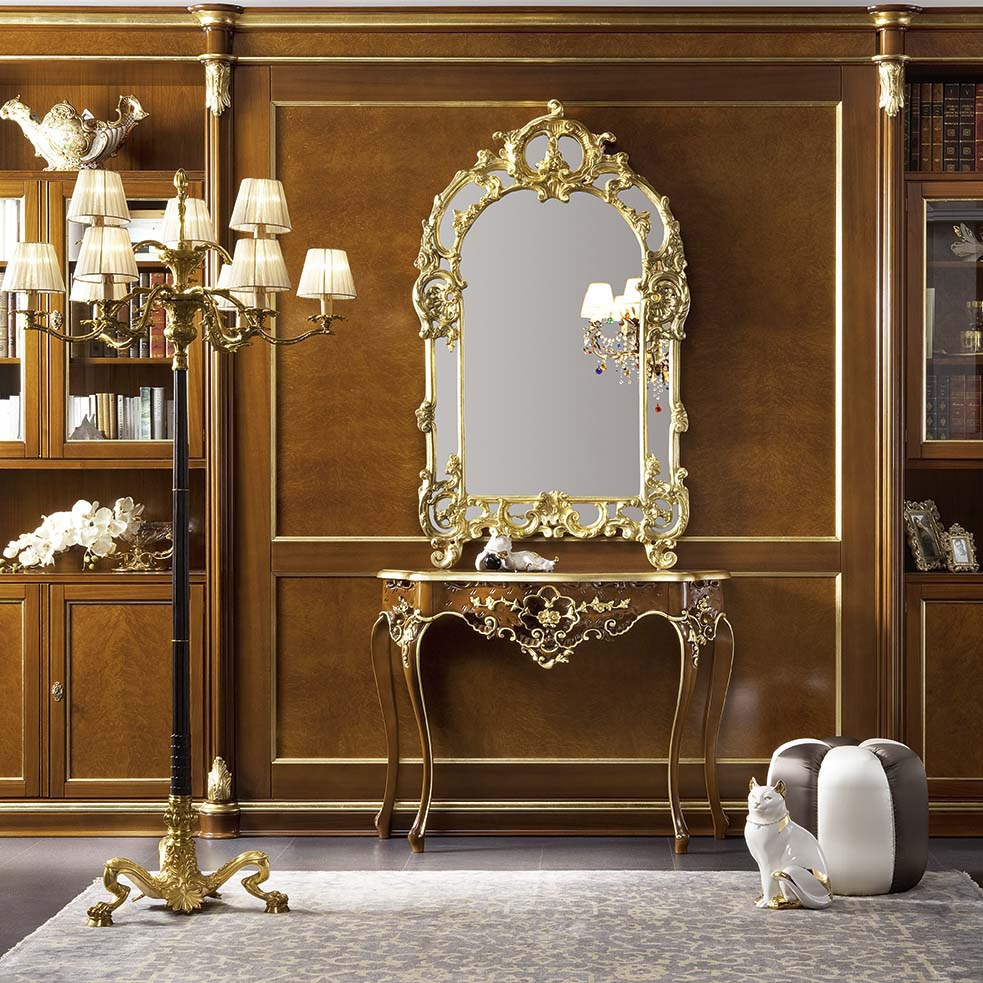 A Wall Mirror In A Carved Gilt Frame Solid Wood Bella Vita