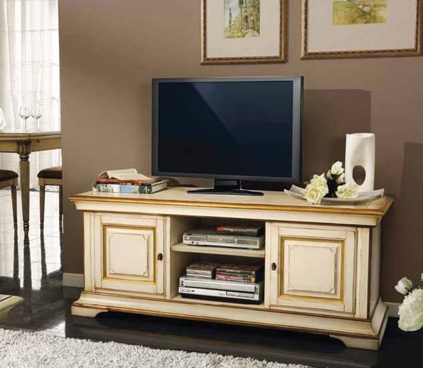 Cabinet for TV with open compartments in a classic style, Mirandola ...