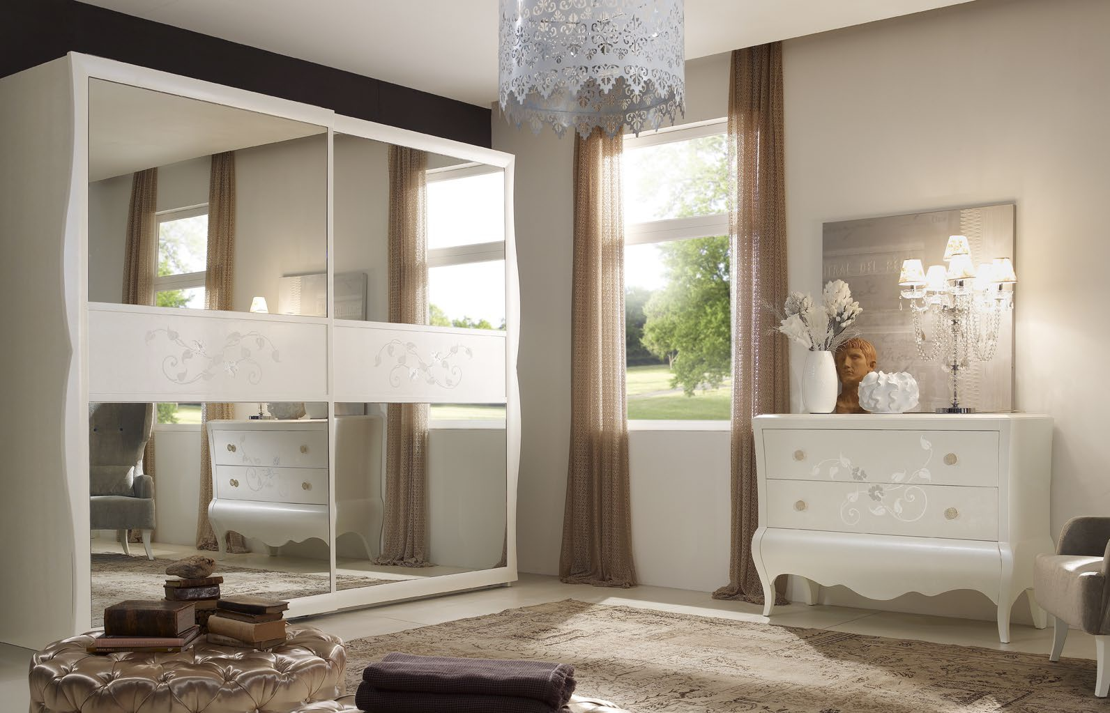 Set For Bedroom In White Color Made Of Solid Wood And Leather New Romantic Arve Style Luxury Furniture Mr