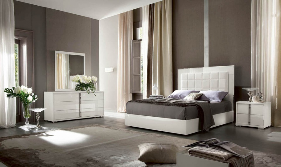 Bedroom Set In White Lacquer And Leather With Padding Imperia Alf Luxury Furniture Mr