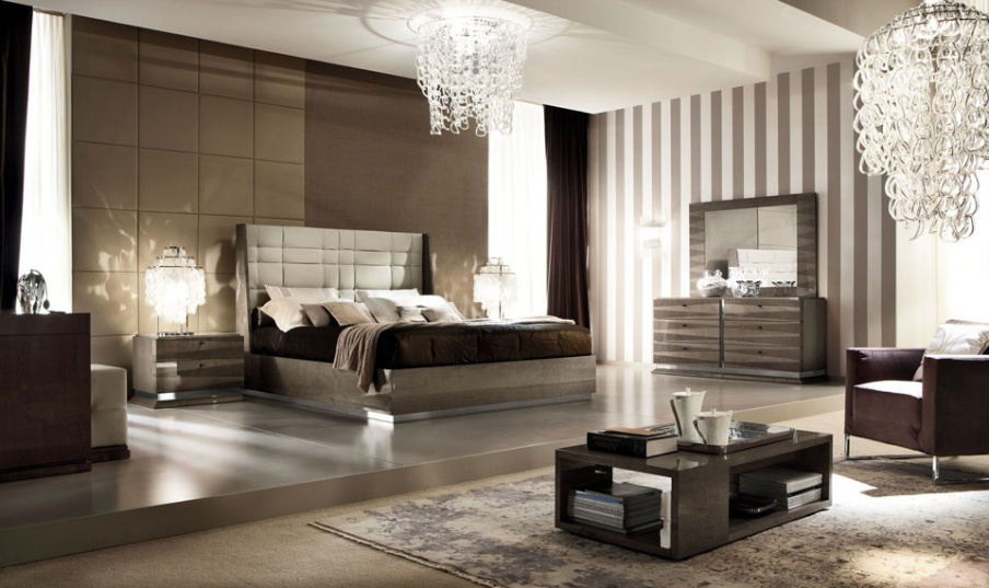 Set for bedroom in veneer and eco-leather Monaco, Alf