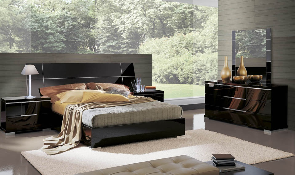 Set For Bedroom In Black Glossy Lacquer With Metallic Elements Siena Alf Luxury Furniture Mr