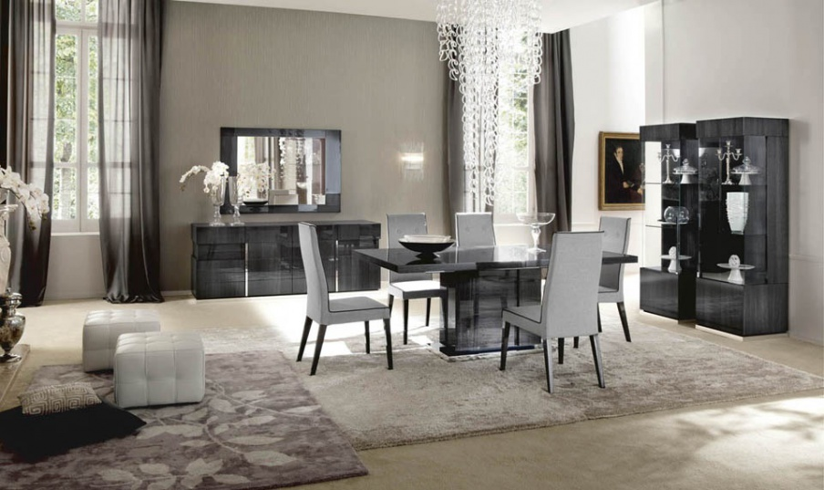 Set for the dining room in grey veneer shade Montecarlo, Alf