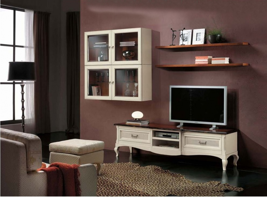 Living room (sofa set) with shelves and cabinets for TV, Mirandola ...