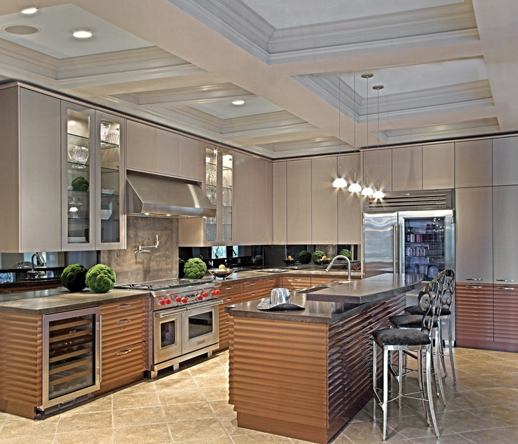 Set for the kitchen with a rippled facade in Contemporary ...