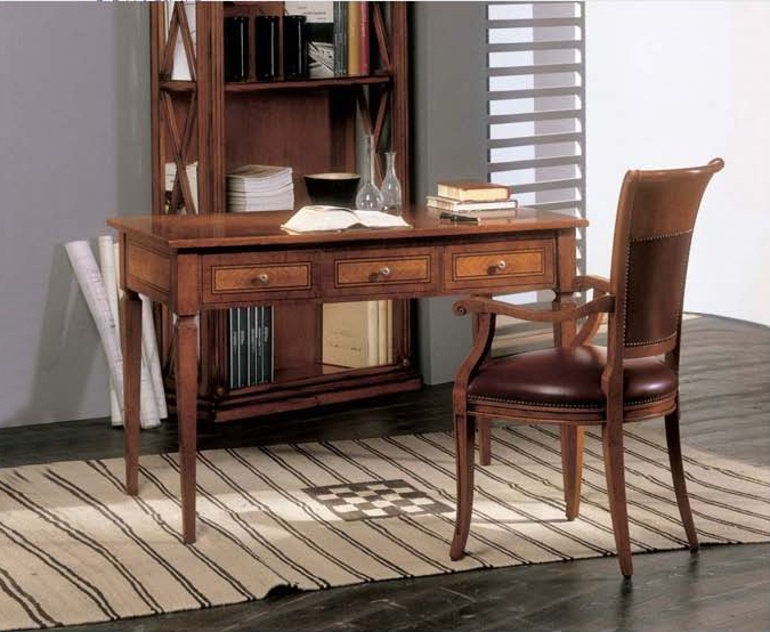 Writing table with extendable side shelves in a classic style ...