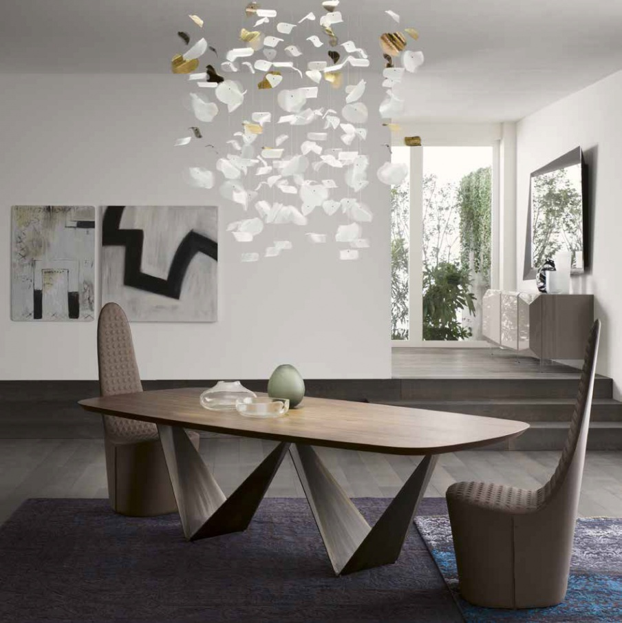 Dining Table On Metal Base Prisma 72 Reflex Angelo