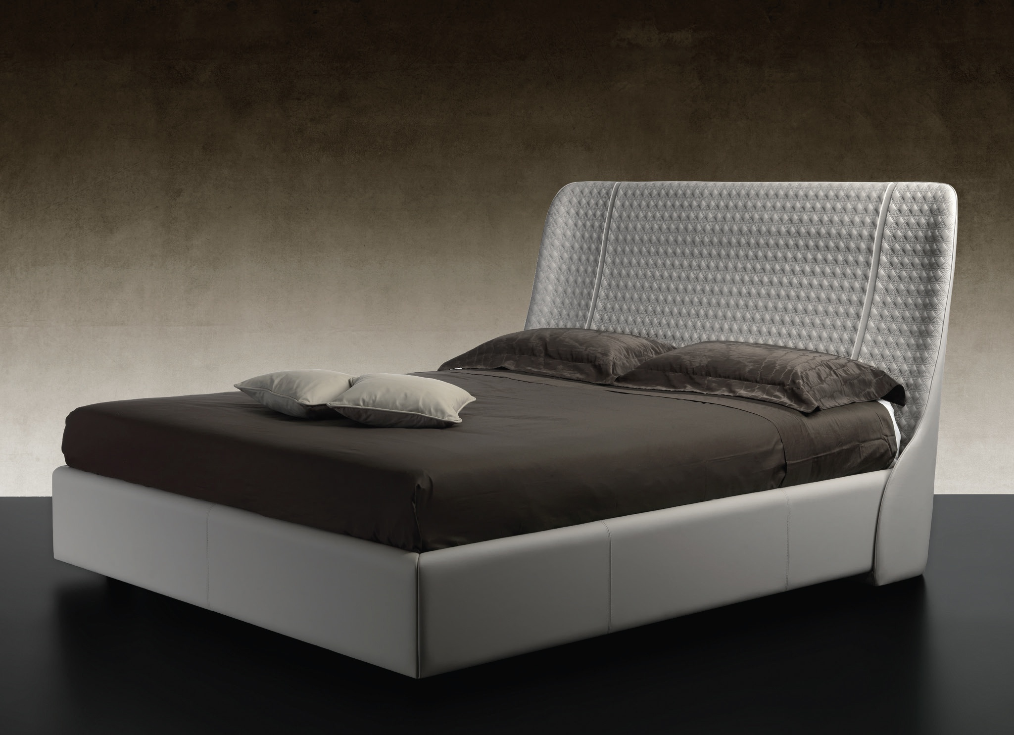 Swan Modern Platform Bed: Double Bed With Headboard Upholstered In Embossed Swan