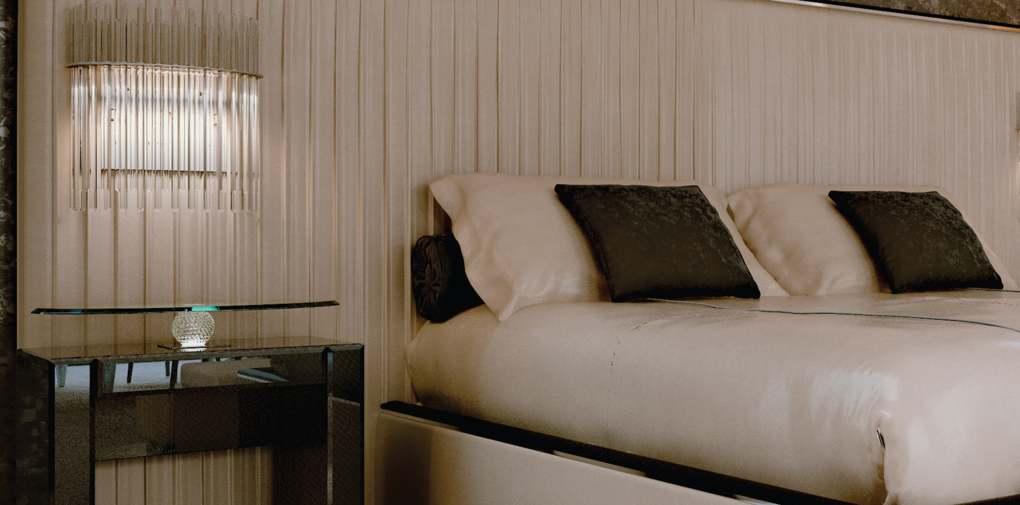 Double Bed With Upholstered Headboard In Pleated Plisse Xl