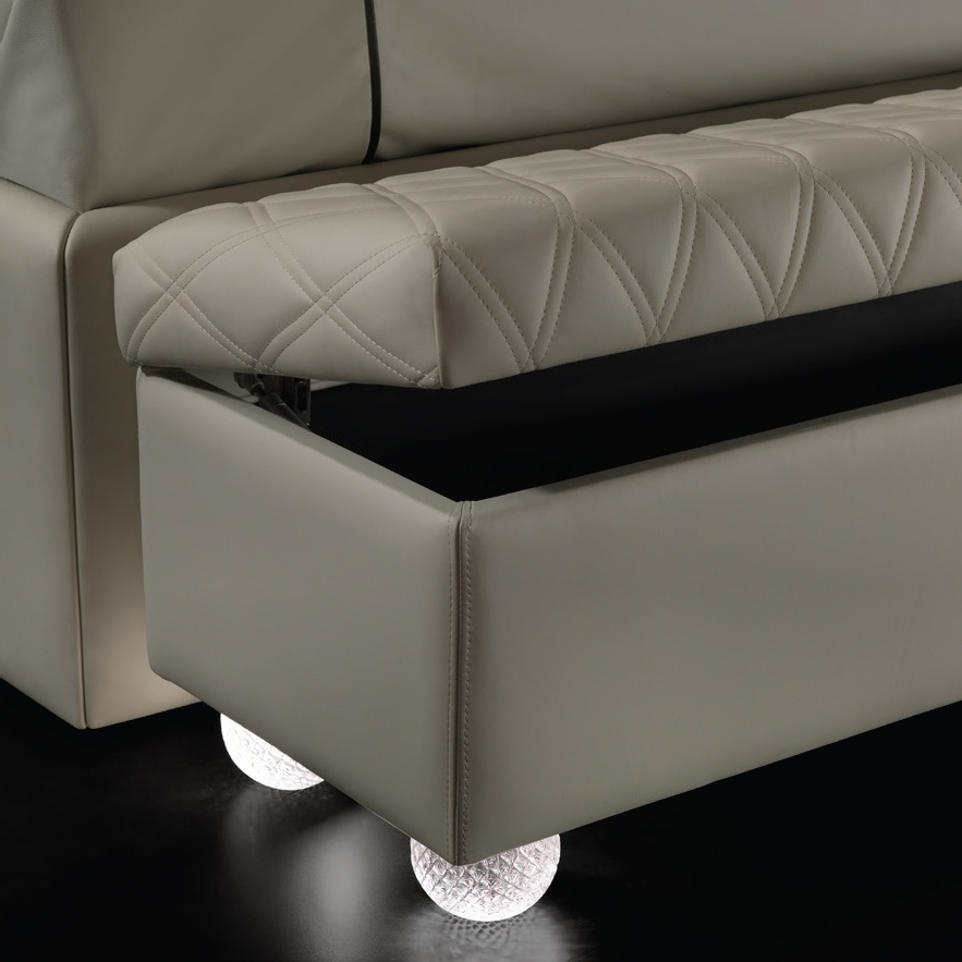 Upholstered Bedside Bench With Legs In Murano Glass Rialto