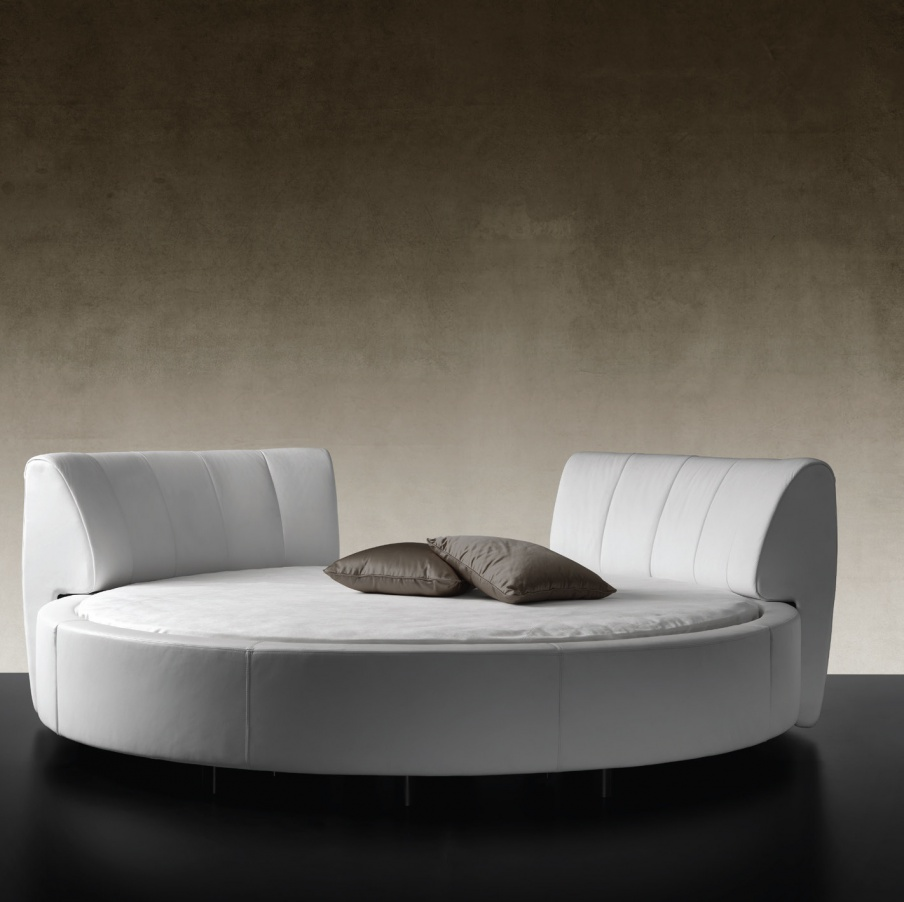 Round Double Bed With Double Headboard Luna Reflex Angelo