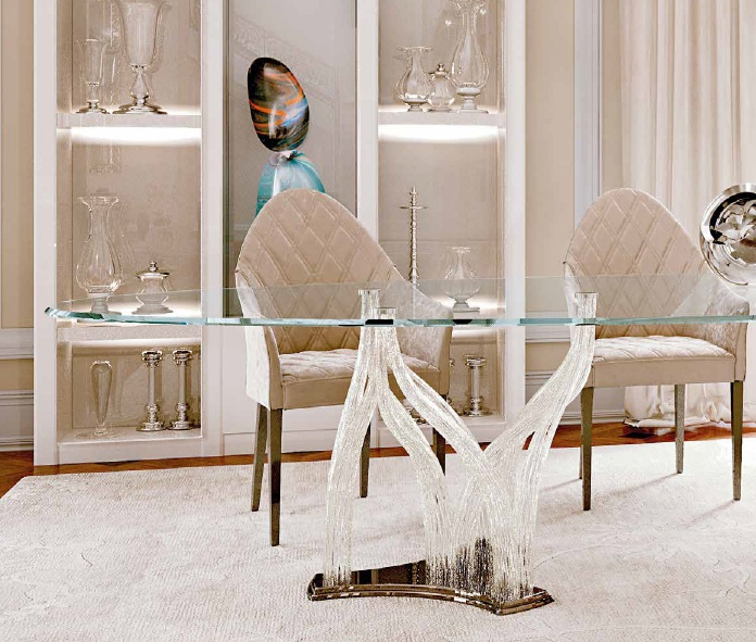 Oval Dining Table With Legs In Murano Glass Flambe Reflex Angelo - 72 oval dining table