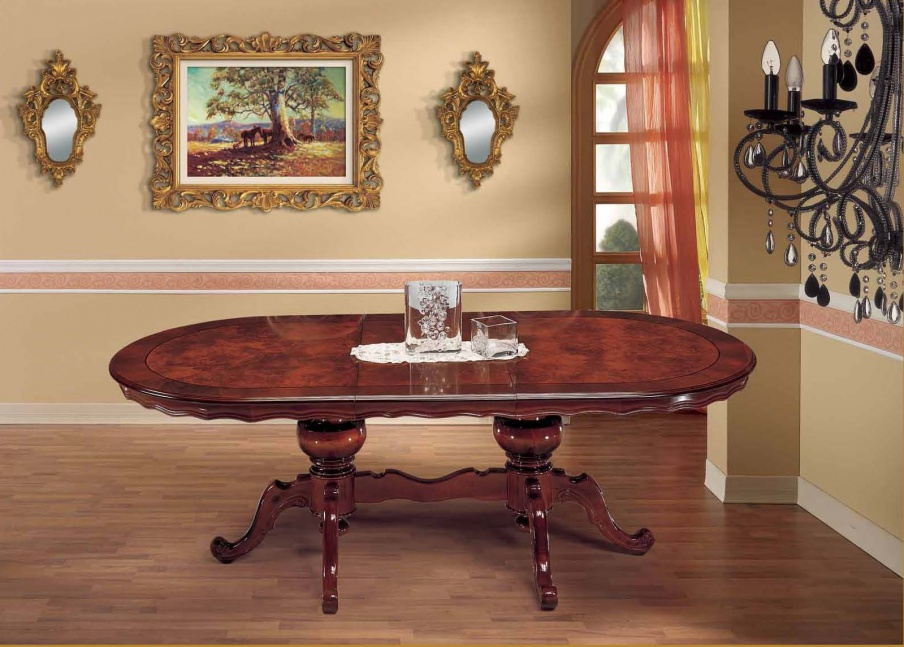 Dining Table With Two Decorative Legs In A Classic Style