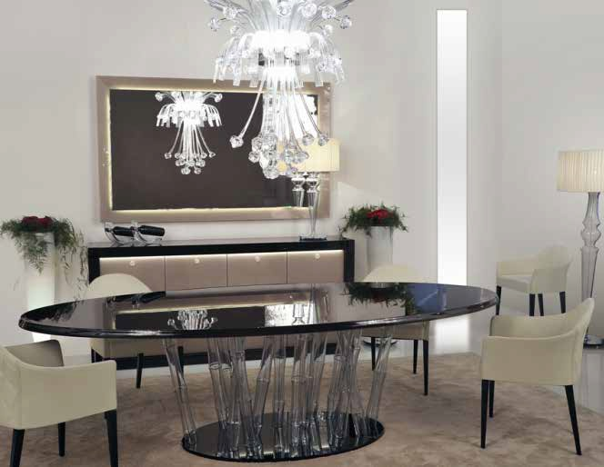 Oval Dining Table With Legs In Murano Glass Bamboo Legno Reflex - 72 oval dining table