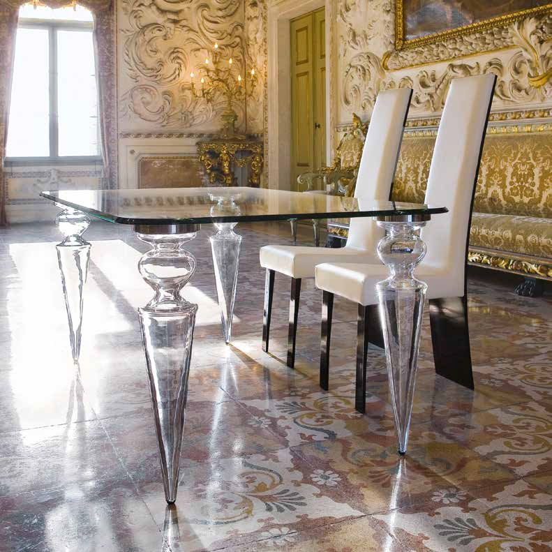 Dining table with glass top Gran Canal 72, Reflex Angelo
