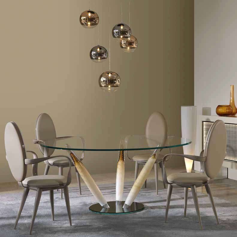 Dining Table With Glass Top And Legs In Murano Glass Ca D