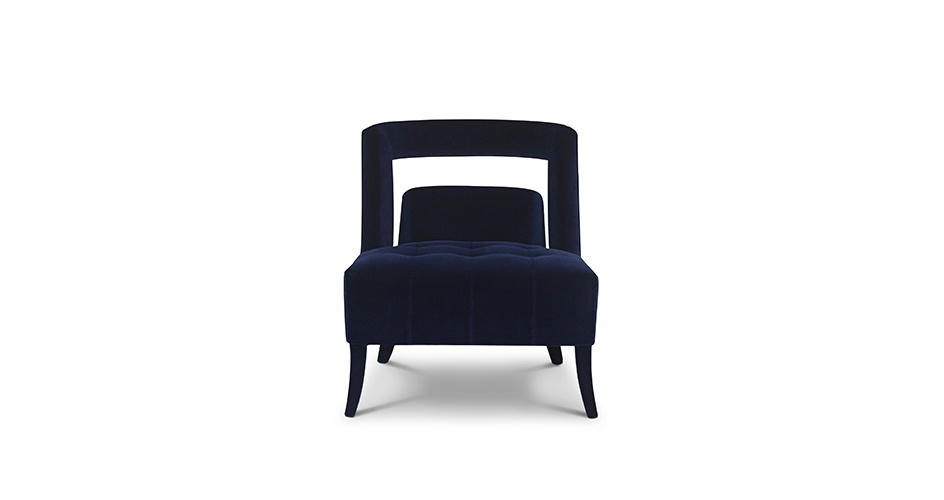 Chair With Straight Lines Naj Upholstered In Velvet