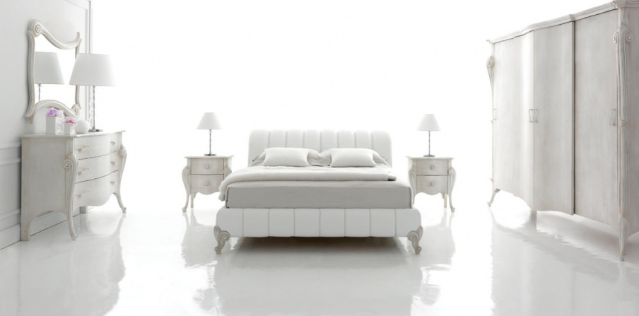 Set for bedroom white lacquered gold Panther, Tosconova