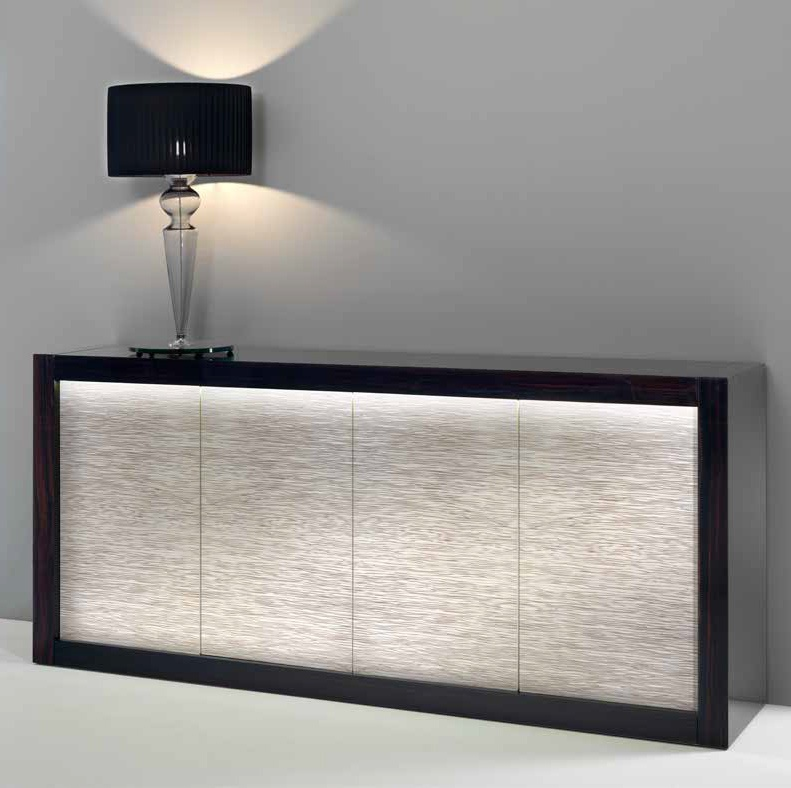 Sideboard Credenza With Wooden Frame Of Glass Doors Dune