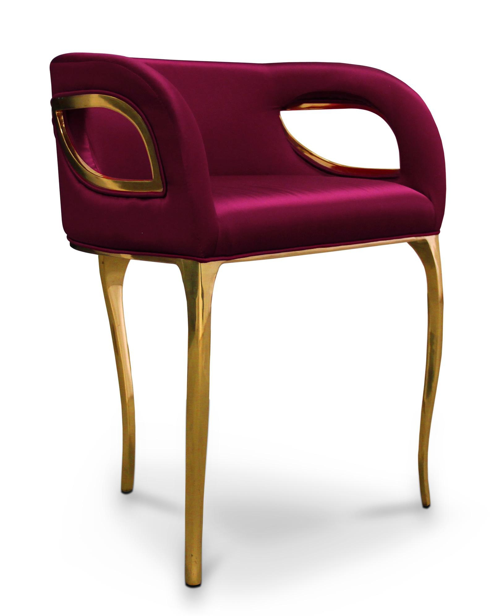 Armchair With Brass Finish And Satin Upholstery Chandra
