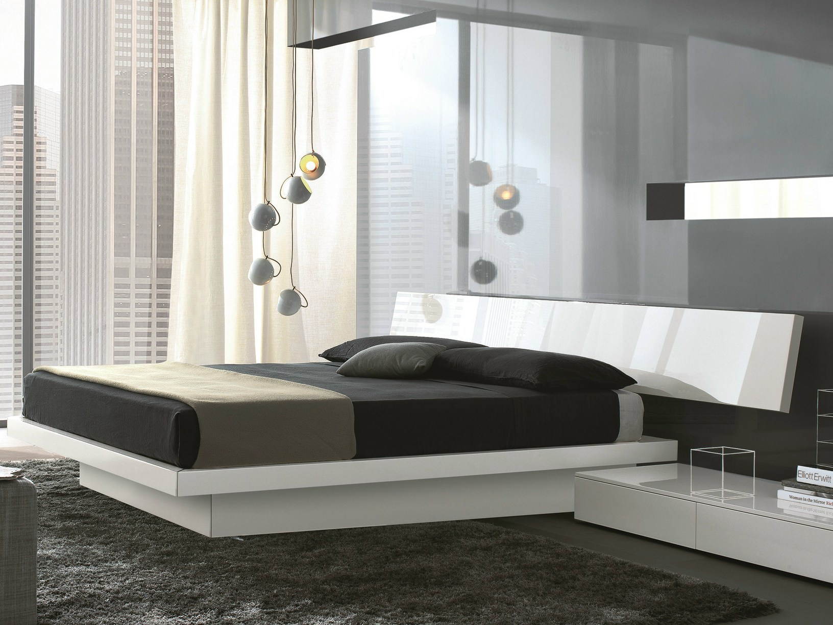 Bed upholstered in leather or fabric slim misuraemme for Misuraemme bed