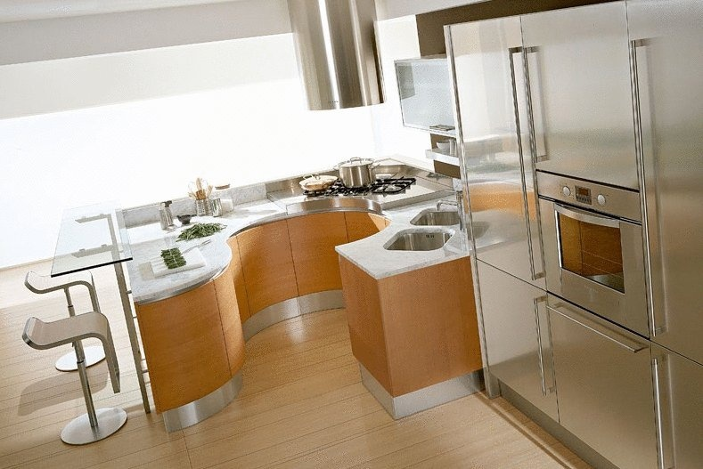Set for the kitchen with a Breakfast bar and stainless steel work ...