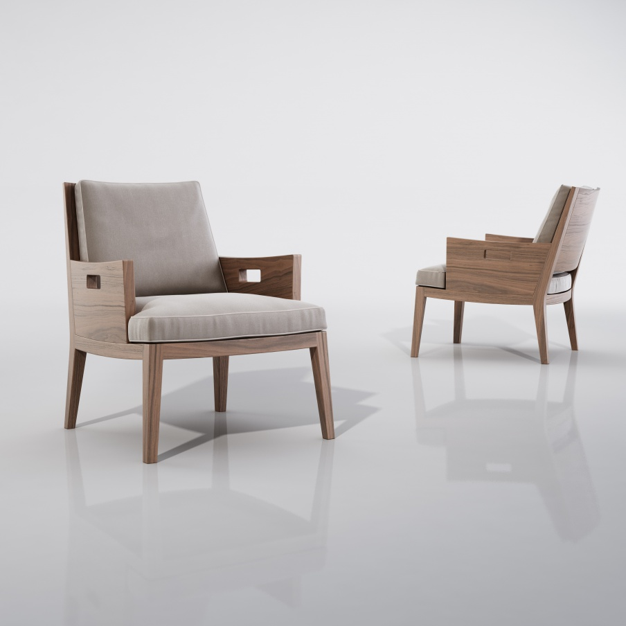 The Chair Frame Is Made Of Walnut Or Ash Wood Upholstered