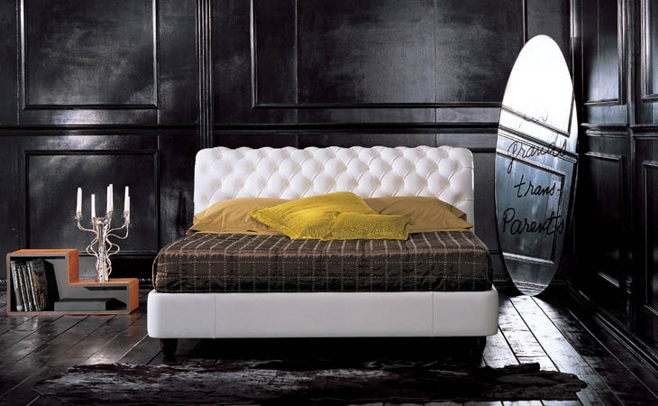 Double bed with high upholstered headboard, BUONANOTTE ...