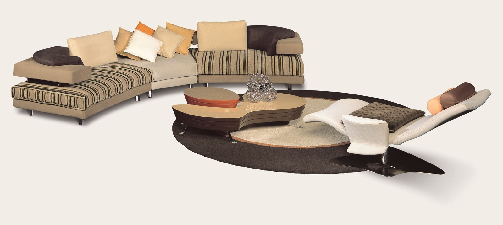 The modular semicircular sofa Rodi with a frame made of ...